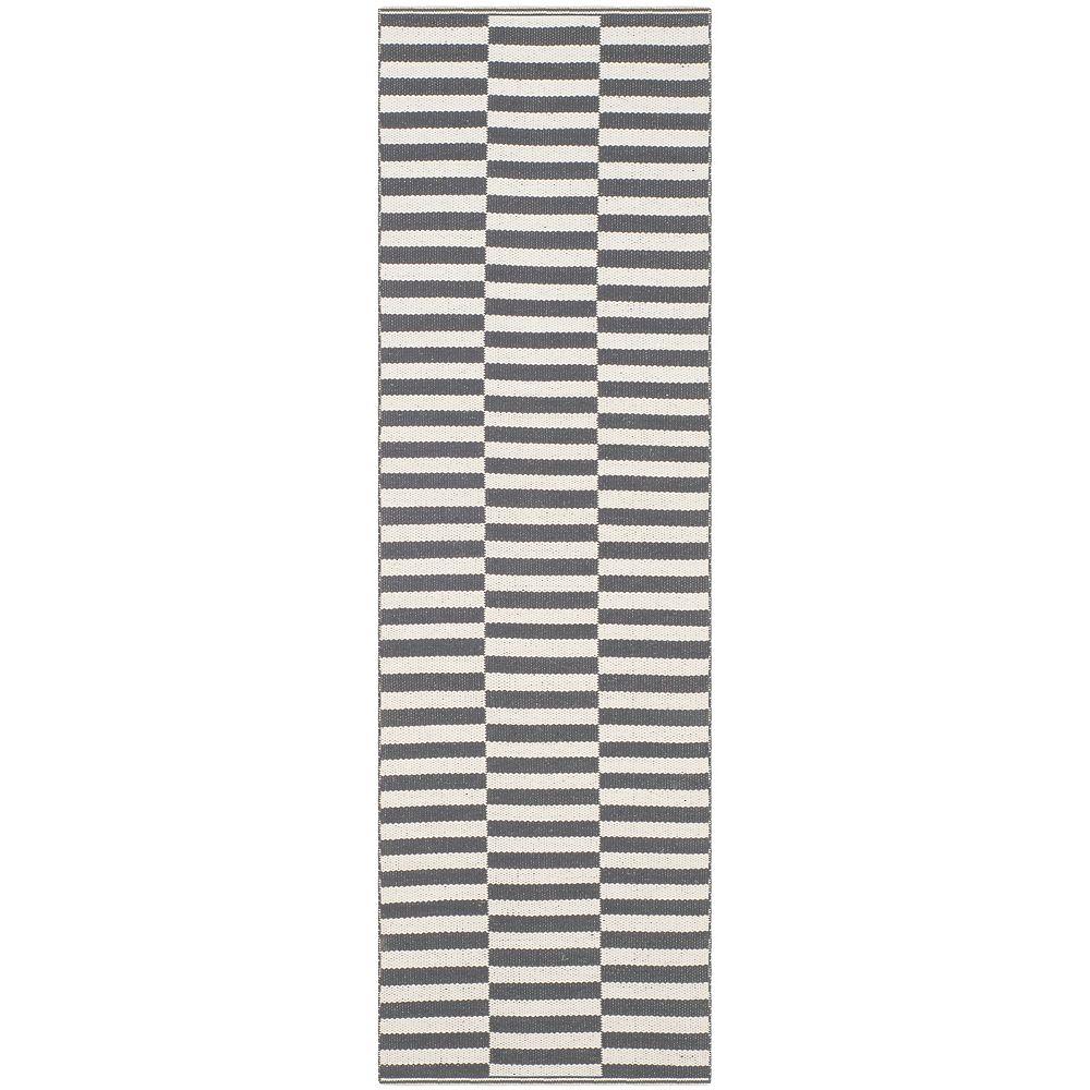 Safavieh Tapis de passage d'intérieur, 2 pi 3 po x 11 pi, Montauk Clark, ivoire / gris