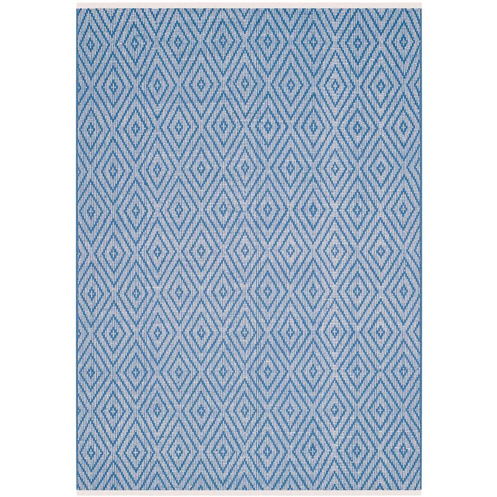 Safavieh Tapis d'intérieur, 6 pi x 9 pi, Montauk Keegan, bleu / ivoire
