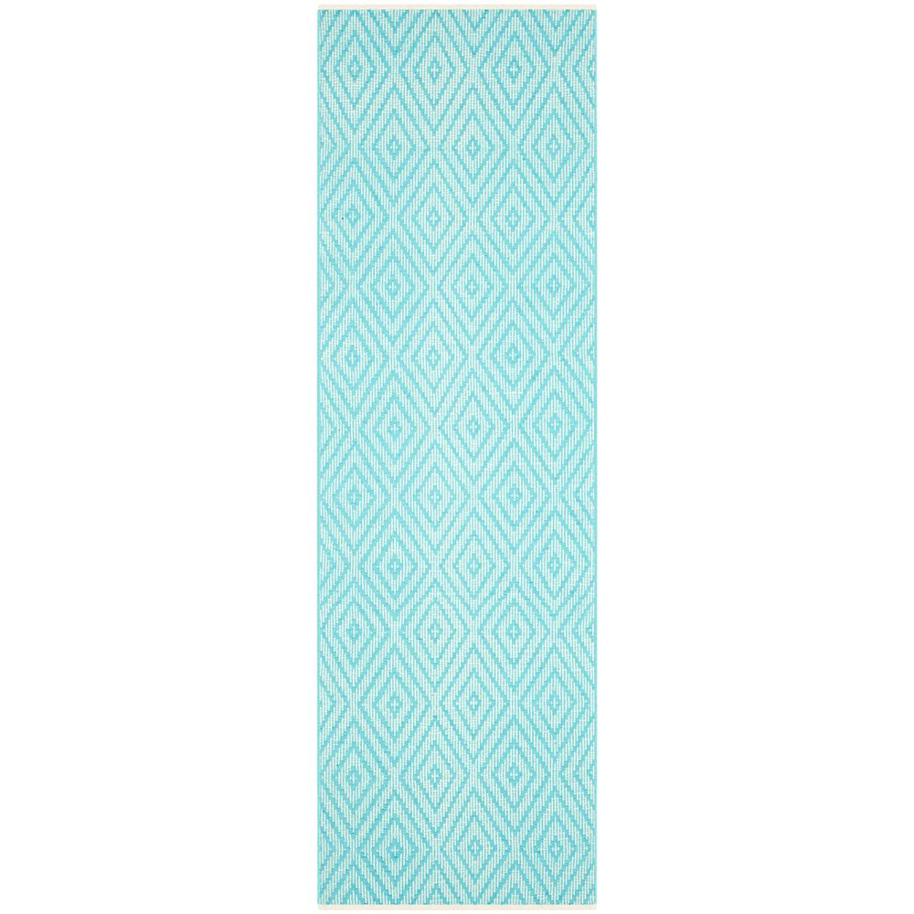 Safavieh Tapis de passage d'intérieur, 2 pi 3 po x 11 pi, Montauk Keegan, turquoise / ivoire