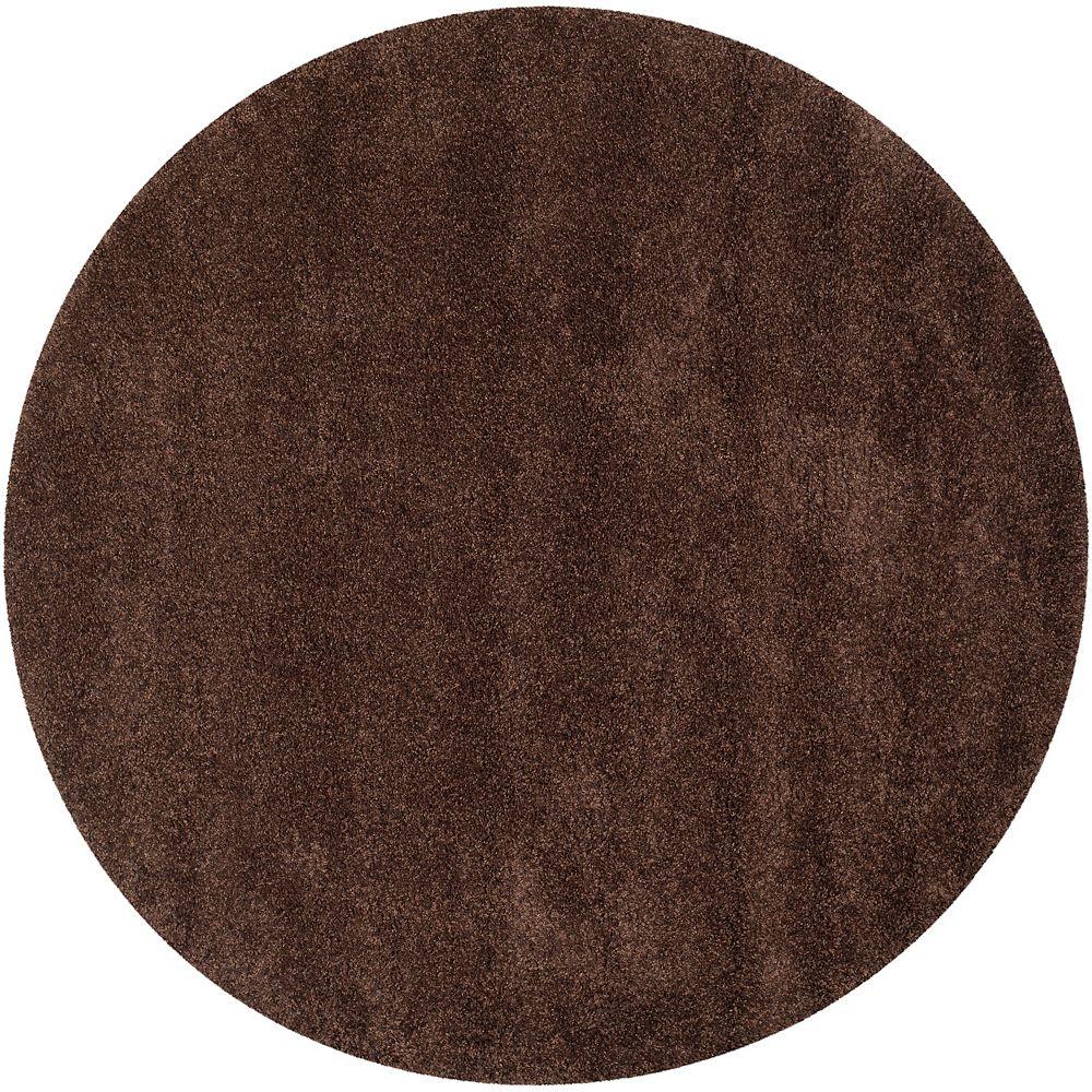 Safavieh Tapis d'intérieur rond, 8 pi 6 po x 8 pi 6 po, California Shag Felicia, brun