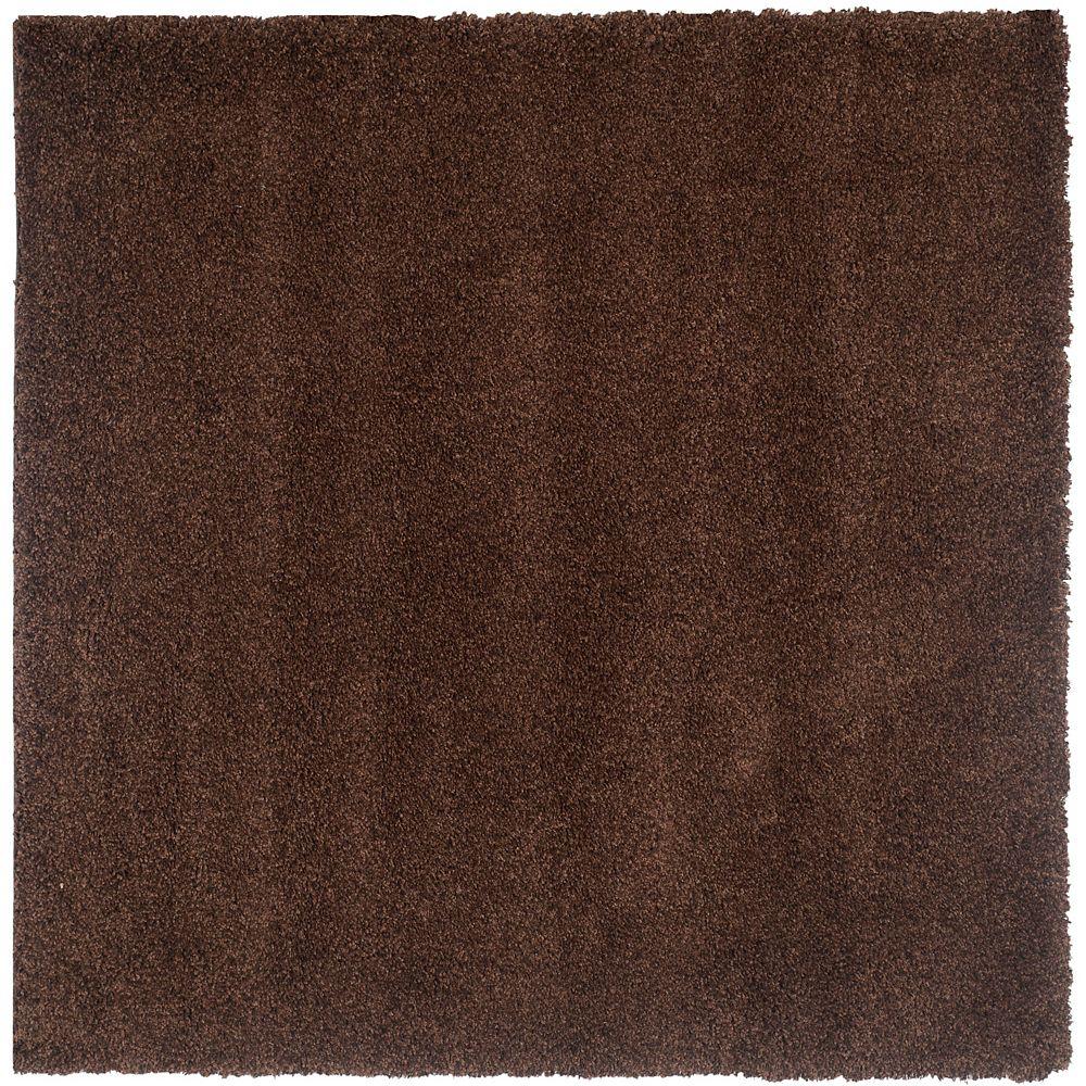 Safavieh Tapis d'intérieur carré, 8 pi 6 po x 8 pi 6 po, California Shag Felicia, brun