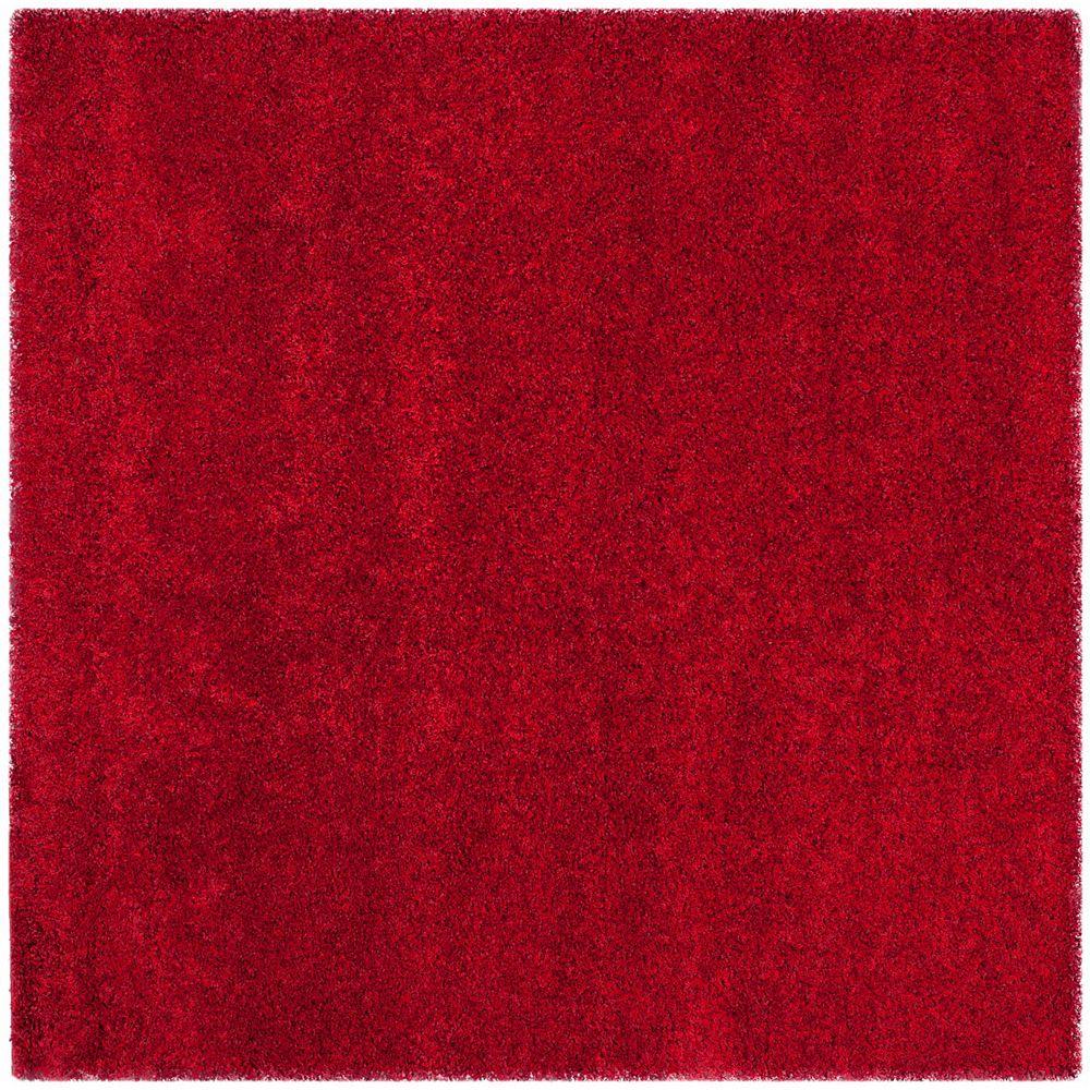 Safavieh Tapis d'intérieur carré, 4 pi x 4 pi, California Shag Felicia, rouge