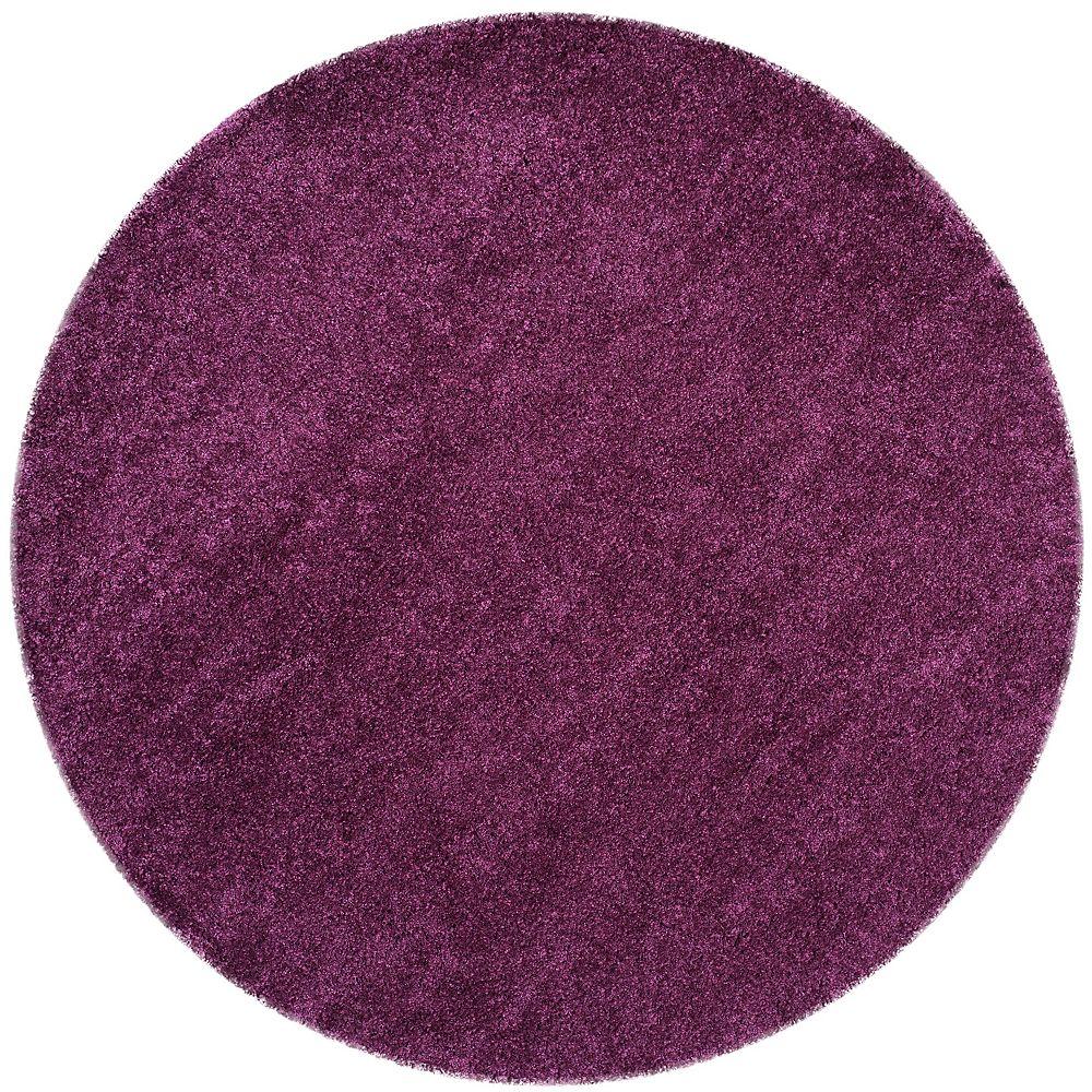 Safavieh Shag Felicia Purple 4 ft. x 4 ft. Indoor Round Area Rug