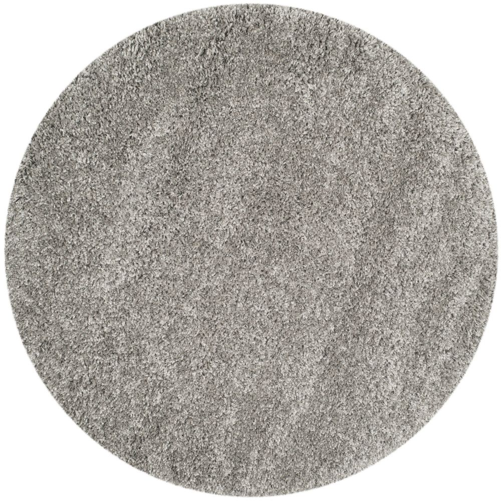 Shag Felicia Silver 4 ft. x 4 ft. Indoor Round Area Rug