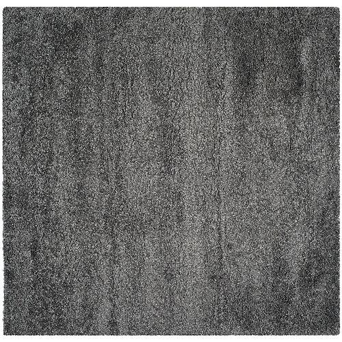 Tapis d'intérieur carré, 4 pi x 4 pi, California Shag Felicia, dark gris