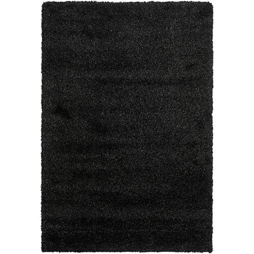 Tapis d'intérieur, 8 pi x 10 pi, California Shag Felicia, noir
