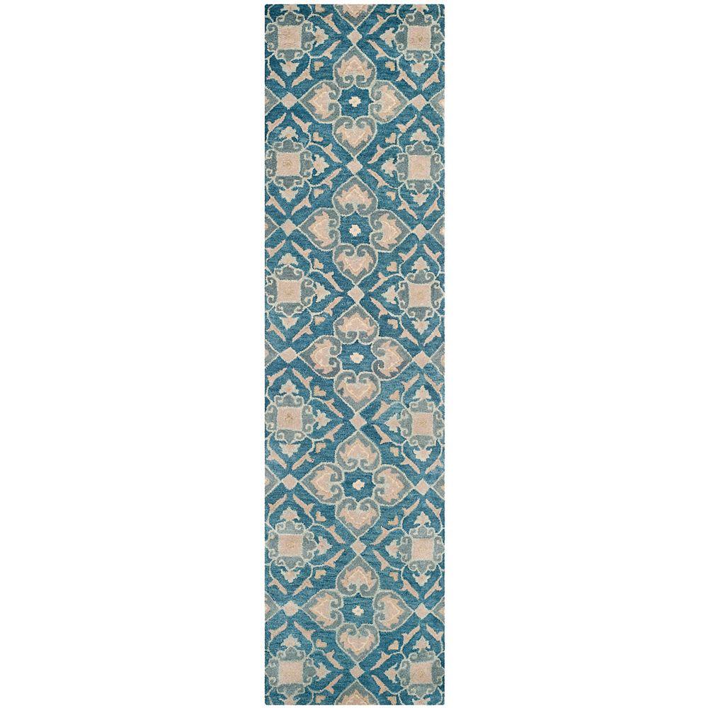 Safavieh Tapis de passage d'intérieur, 2 pi 3 po x 9 pi, Wyndham Chad, bleu / gris