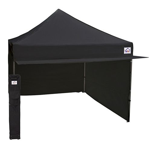 Impact Canopy 10 ft. x 10 ft. Aluminum & Steel Mix Vendor Canopy with Enclosure & Awning in Black