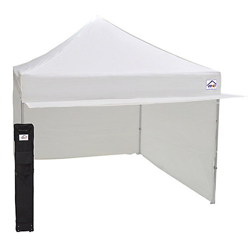 10 Feet x 10 Feet Aluminum & Steel Mix Vendor Canopy with Enclosure & Awning White