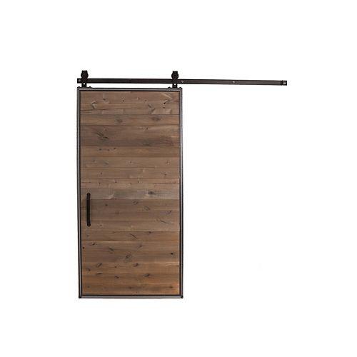 42 inch x 84 inch Mountain Modern Grey Wood Barn Door with Sliding Door Hardware Kit
