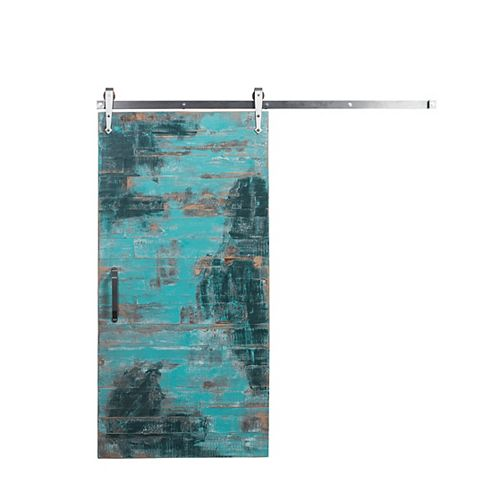 42 inch x 84 inch Reclaimed Aqua Wood Barn Door with Brushed Steel Sliding Door Hardware Kit