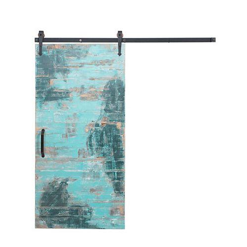 42 inch x 84 inch Rustica Reclaimed Aqua Wood Barn Door with Sliding Door Hardware Kit
