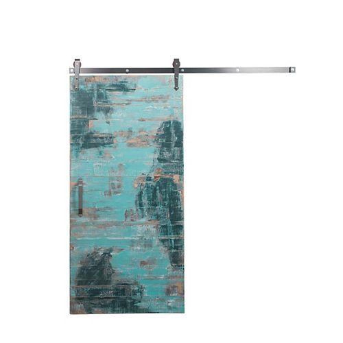 42 inch x 84 inch Rustica Reclaimed Aqua Wood Barn Door with Raw Steel Sliding Door Hardware Kit