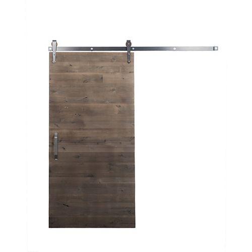 42 inch x 84 inch Rustica Reclaimed Gray Wood Barn Door with Brushed Steel Sliding Door Hardware Kit