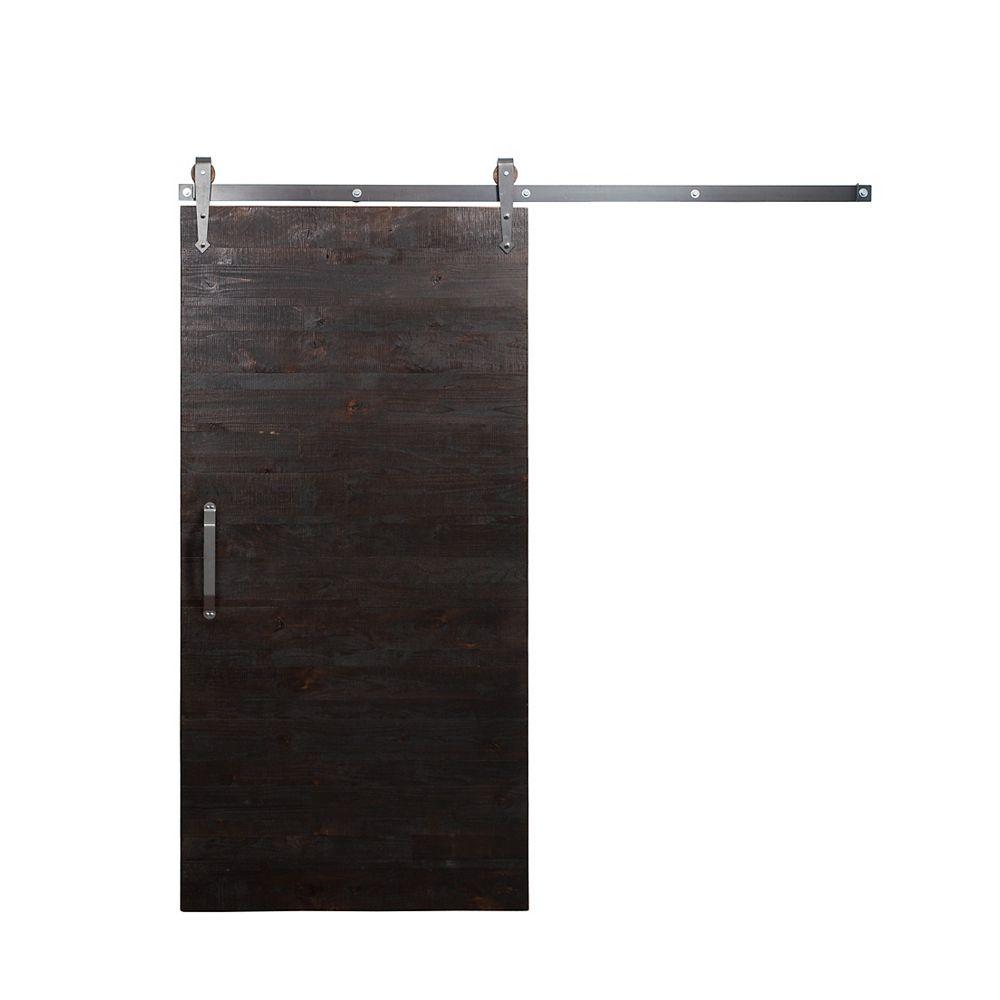 Rustica Hardware Porte de grange en bois moderne avec trousse quincaillerie pour porte coulissante, clair, glaçure, 42 po x 84 po