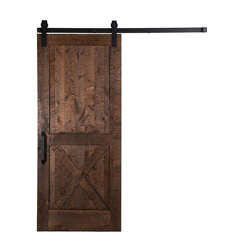 36 inch x 84 inch Unassembled Stain Glaze Rockwell Barn Door and Sliding Hardware