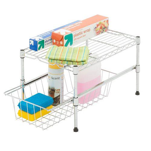 11-inch H x 12-inch W x 18-inch D Adjustable Steel Shelf with Basket Cabinet Organizer in Chrome