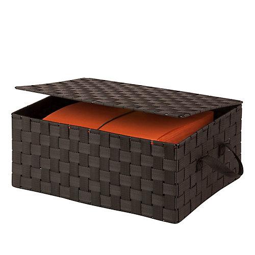Hinged Lid Woven Storage Box, Espresso
