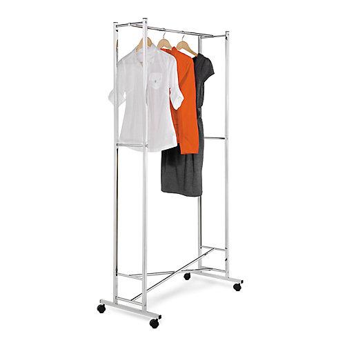 Folding Square Tube Steel Rolling Garment Rack in Chrome/White