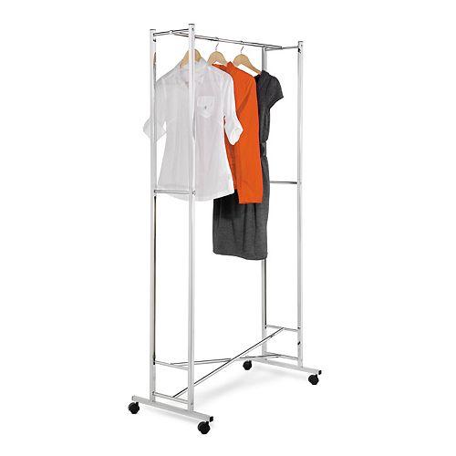 Honey-Can-Do Folding Square Tube Steel Rolling Garment Rack in Chrome/White