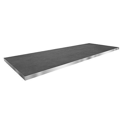 Comptoir surface de travail réversible en béton et acier inoxydable 25 x 73 x 1.5