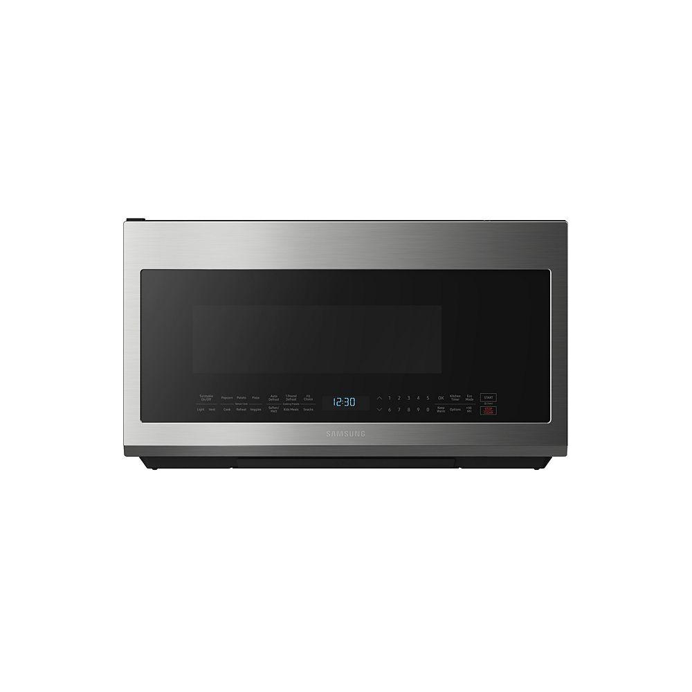 Samsung 2,1 pieds cubes au-dessus de la cuisinière Micro-ondes en acier inoxydable résistant aux empreintes digitales avec cuisson par capteur