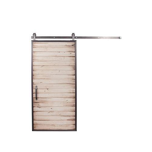 36 inch x 84 inch Mountain Modern White Wash Wood Barn Door with Sliding Door Hardware Kit