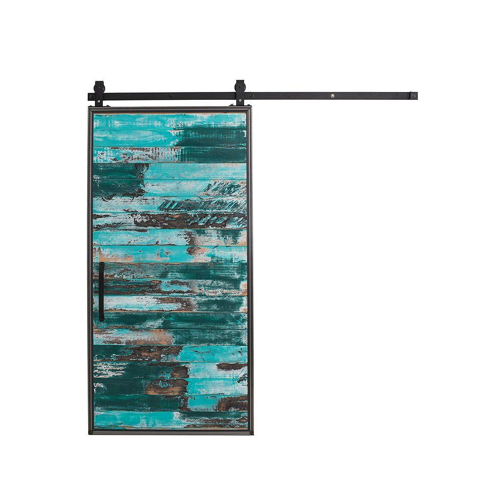 Rustica Hardware Trousse pour porte de grange en bois avec porte coulissante, aqua, 36 po x 84 po