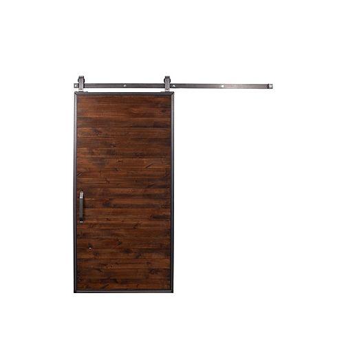36 inch X 84 inch Mountain Modern Stain, Glaze, Clear wood Barn Door with Sliding Door Hardware Kit