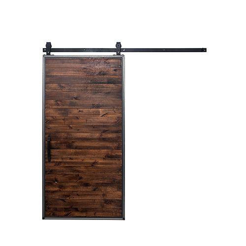 36-inch x 84-inch Mountain Modern Stain, Glaze, Clear Wood Barn Door with Hardware Kit