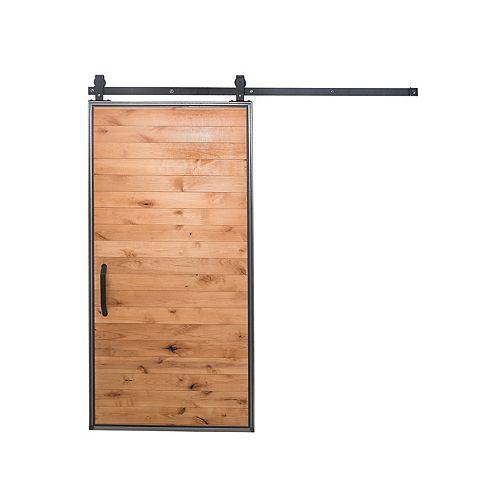 36 inch x 84 inch Mountain Modern Clear Wood Barn Door with Sliding Door Hardware Kit