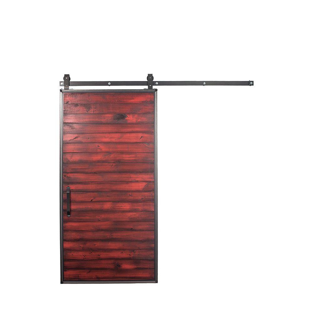 Rustica Hardware Trousse pour porte de grange en bois avec porte coulissante, rouge, 36 po x 84 po