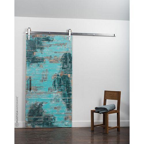 36 inch x 84 inch Reclaimed Aqua Wood Barn Door with Sliding Door Hardware Kit