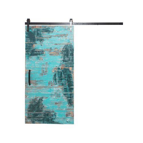 36 inch x 84 inch Rustica Reclaimed Aqua Wood Barn Door with Sliding Door Hardware Kit