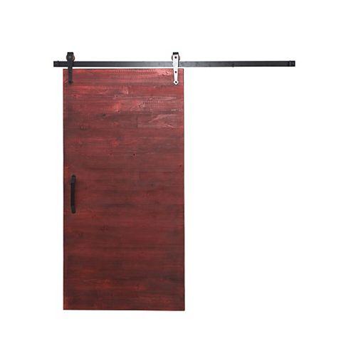 36 inch x 84 inch Rustica Reclaimed Red Wood Barn Door with Sliding Door Hardware Kit
