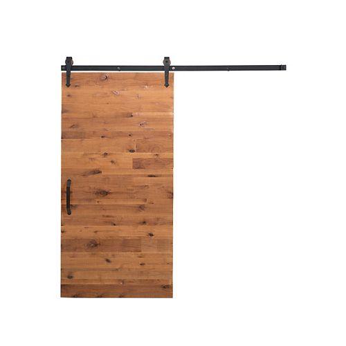 36 inch x 84 inch Rustica Reclaimed Clear Wood Barn Door with Sliding Door Hardware Kit