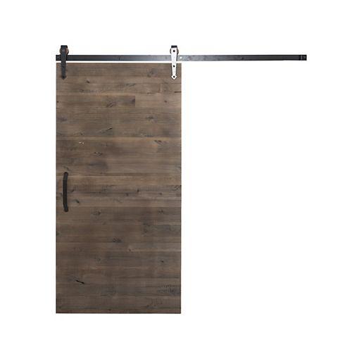 36 inch x 84 inch Rustica Reclaimed Gray Wood Barn Door with Sliding Door Hardware Kit