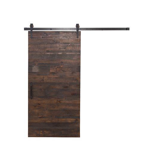 36 inch x 84 inch Rustica Reclaimed Wood Barn Door with Sliding Door Hardware Kit
