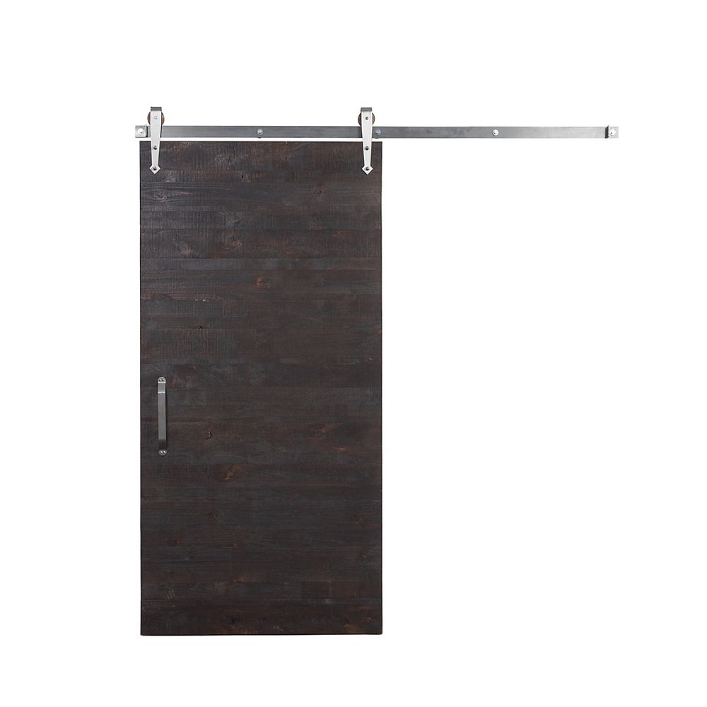 Rustica Hardware Porte de grange en bois de récupération avec coulissante, glaçure et clair, 36 po x 84 po