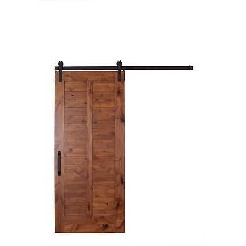 42 in x 84 in Unassembled Stain and Clear Plantation Barn Door Kit with Sliding Hardware