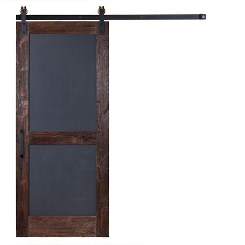 42in x 84 in Chalkboard Barn Door with Garrick Hardware in Flat Black