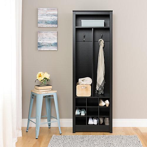 Meuble de rangement compact pour entrées avec compartiments pour chaussures, noir