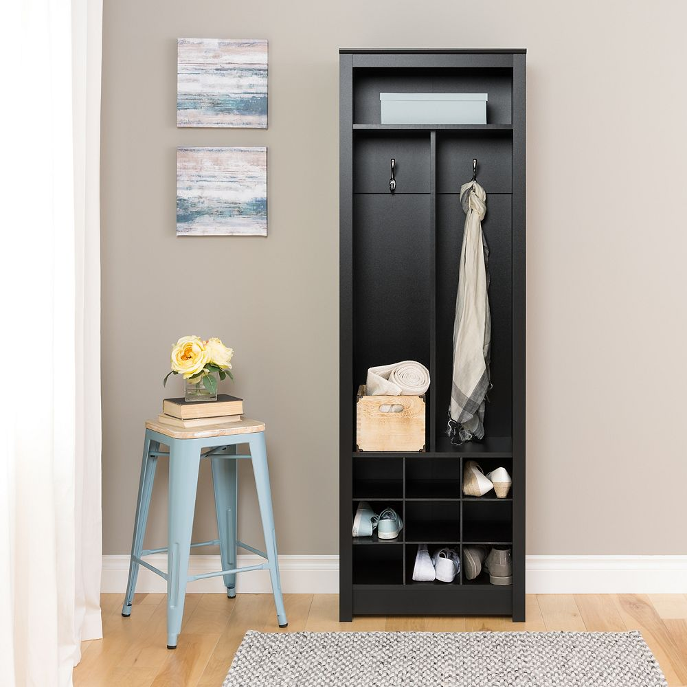 Prepac Space-Saving Entryway Organizer with Shoe Storage in Black