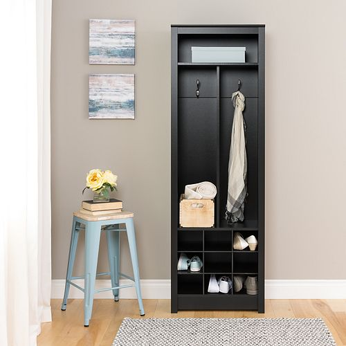 Space-Saving Entryway Organizer with Shoe Storage in Black