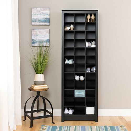 Space-Saving Shoe Storage Cabinet, Black