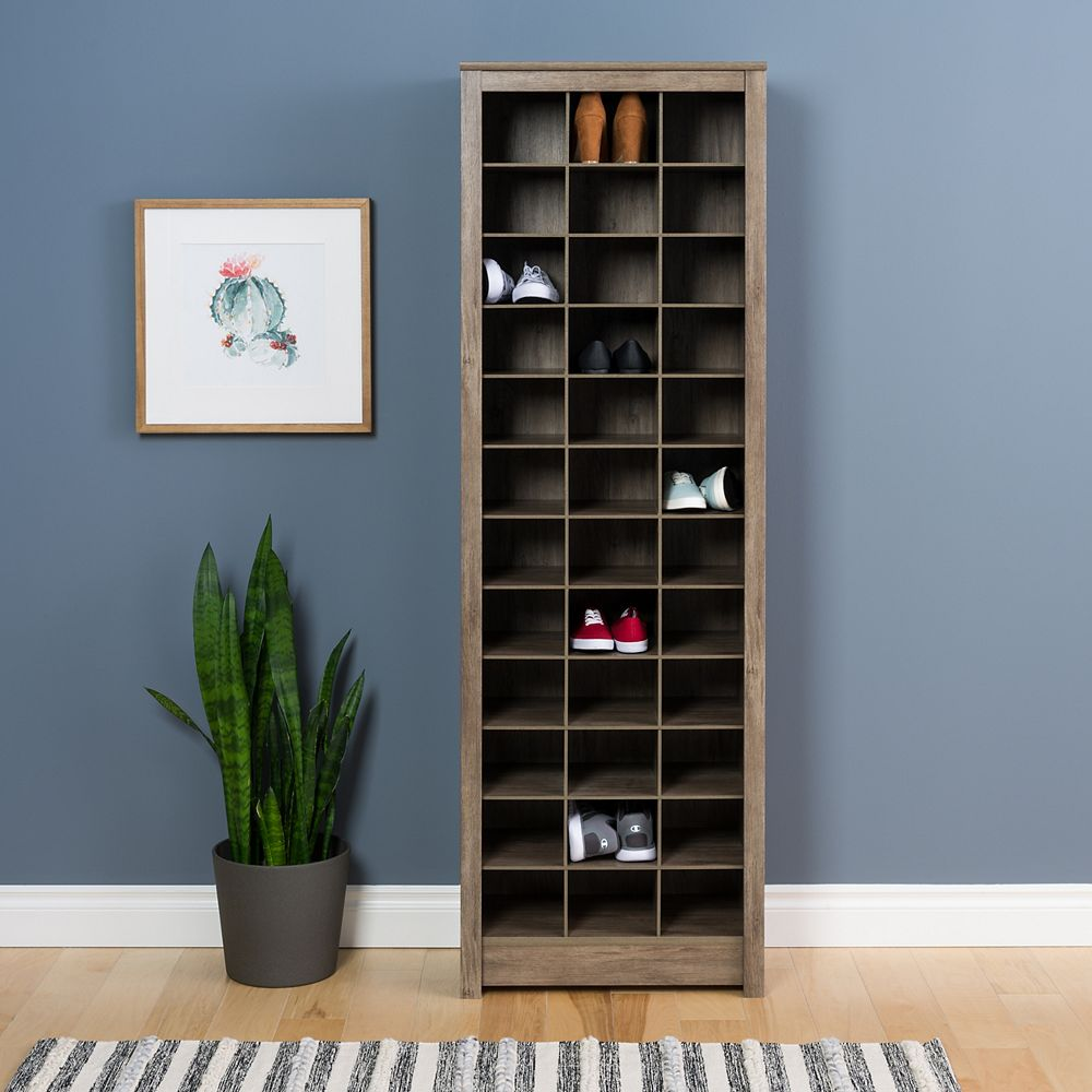 Prepac Space-Saving Shoe Storage Cabinet in Drifted Grey