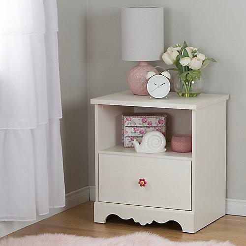 Lily Rose 1-Drawer Nightstand, White Wash