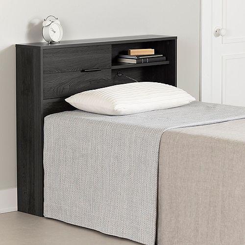 """Tête de lit simple avec rangement (39"""") Fynn, Chêne gris"""