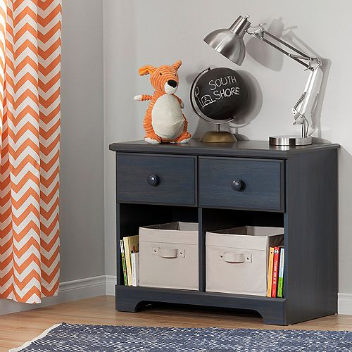 Summer Breeze 2-Drawer Double Nightstand, Blueberry