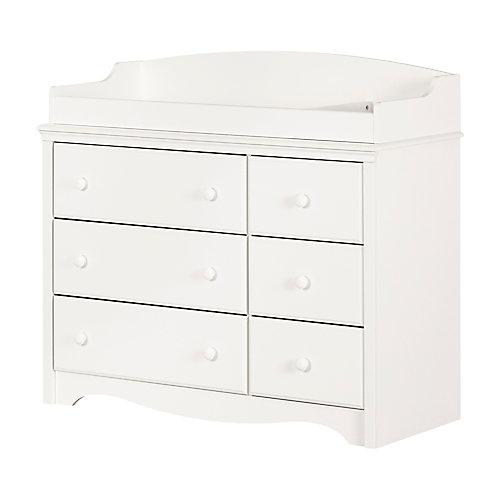 Table à langer/bureau double 6 tiroirs Angel, Blanc solide